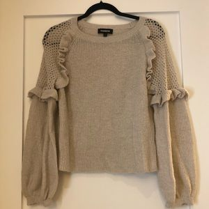 Express Balloon Sleeve Sweater with Ruffle Detail